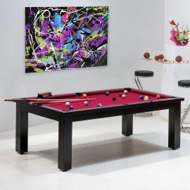 Achat table billard - Billard laqué noir satiné tapis rouge