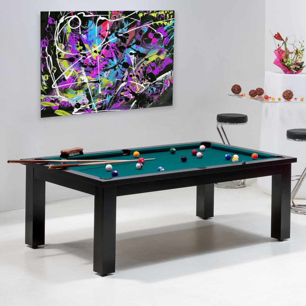 Achat billard pas cher - Table avec tapis vert bleu