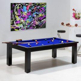 Billard pool - Table de billard convertible, bleu pool