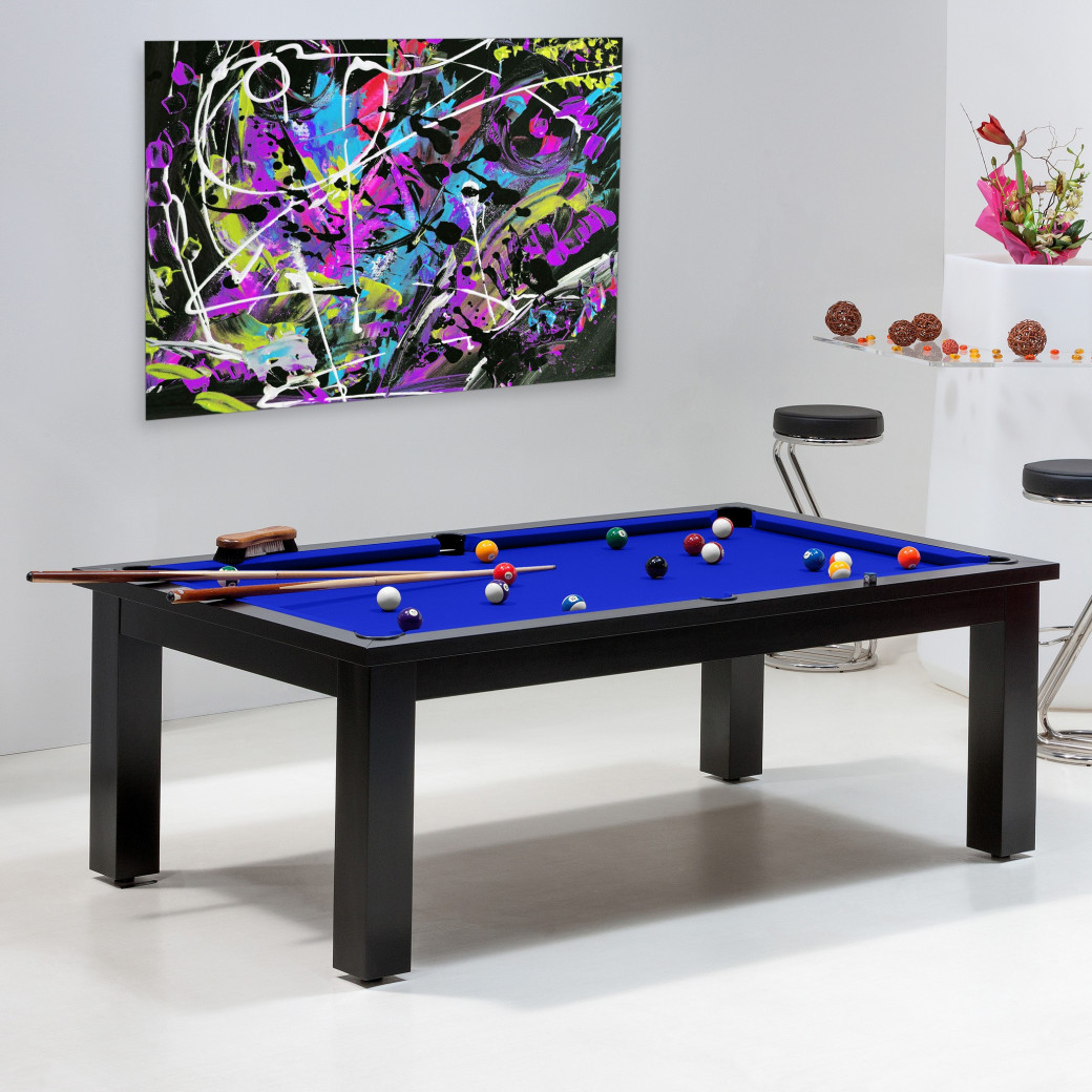 Billard pool - Table de billard convertible, bleu pool
