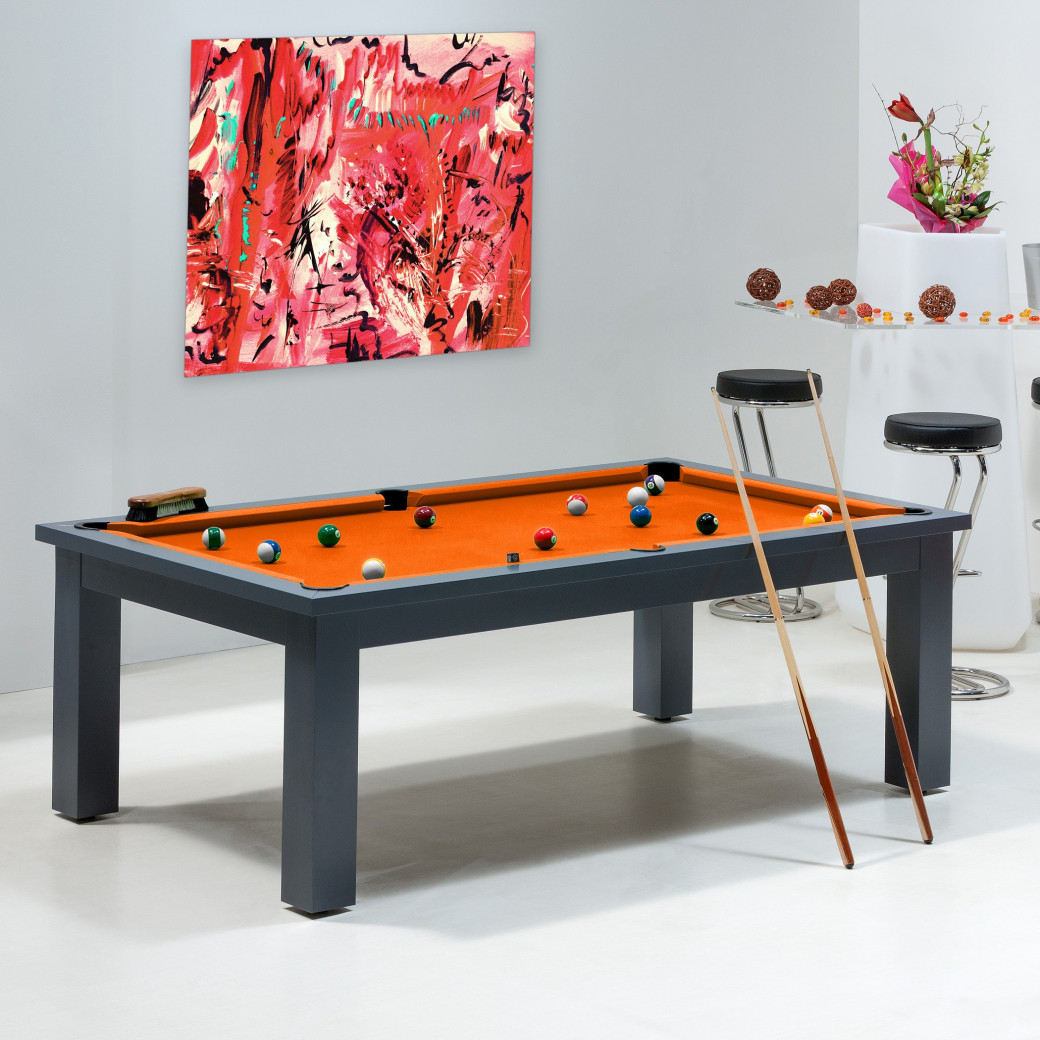 billard - billard transformable avec tapis orange