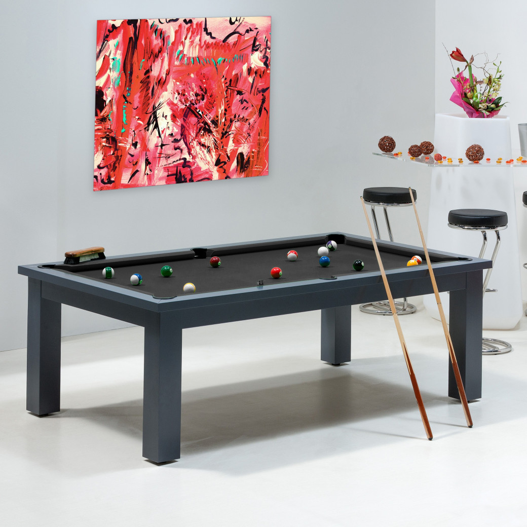 billard noir - table de billard transformable avec tapis noir