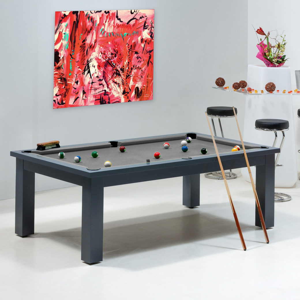 Table de billard convertible - table et drap de billard gris