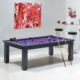 Billard convertible - Billard laque gris et tapis violet