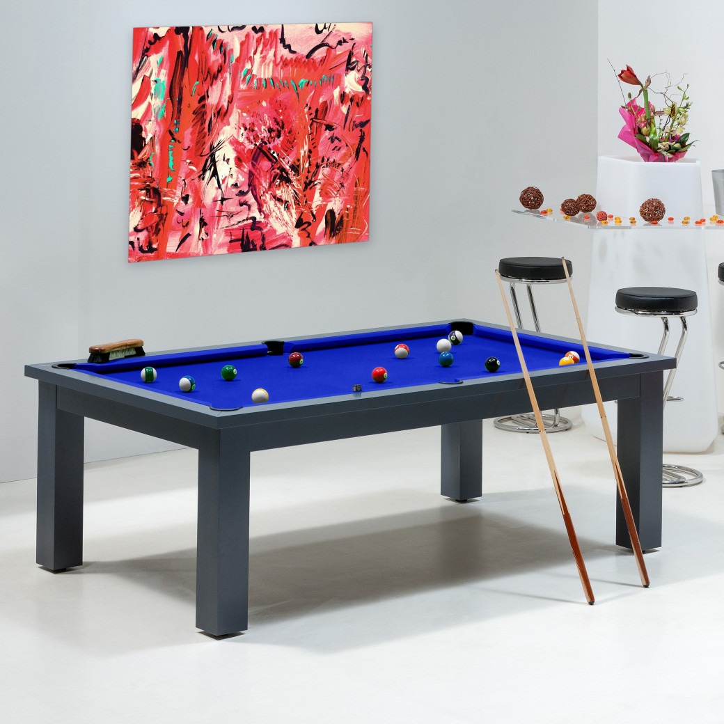 Table de billard convertible : drap de billard bleu pool