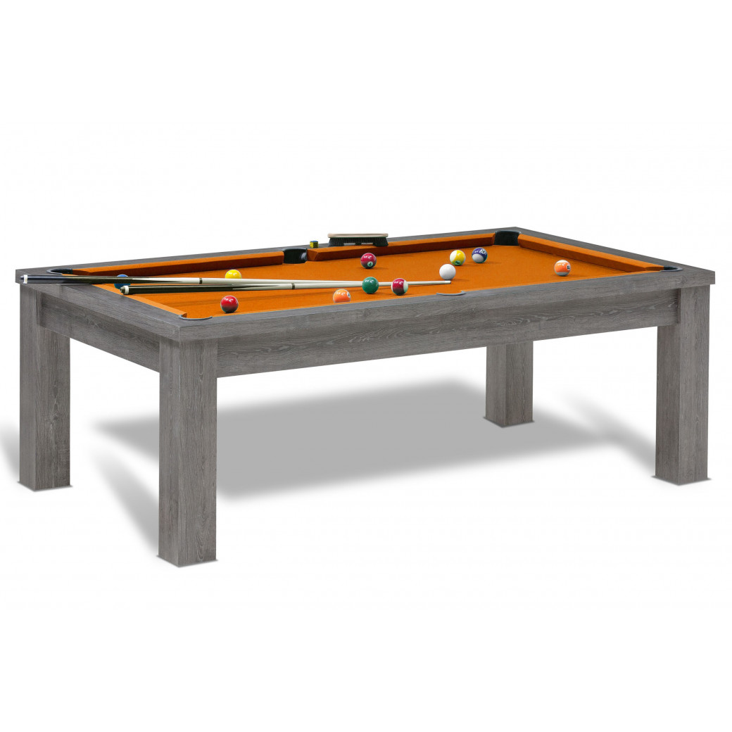 Billard americain orange avec jeu de billard us et dessus de table pouvant regrouper 8 personnes autour.