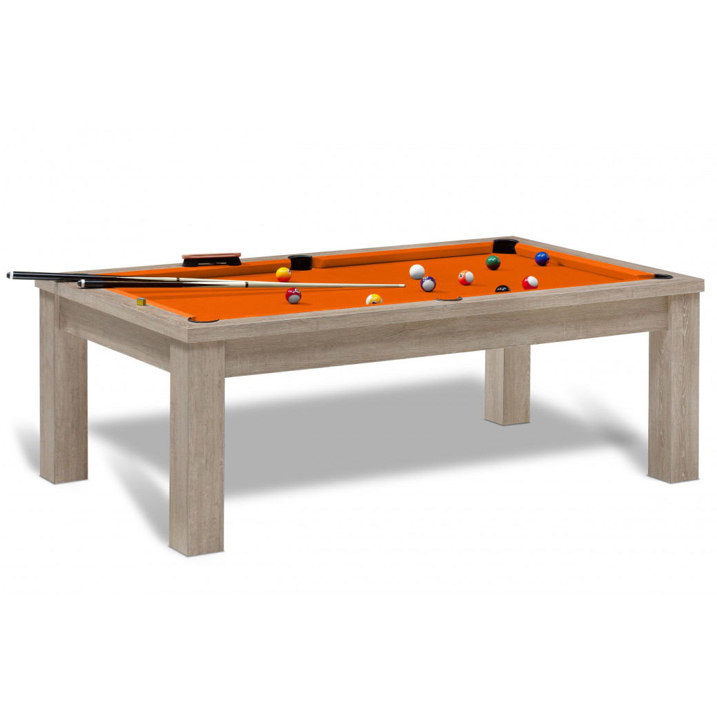 billard americain avec luxieux tapis orange, table de billard de la gamme référence