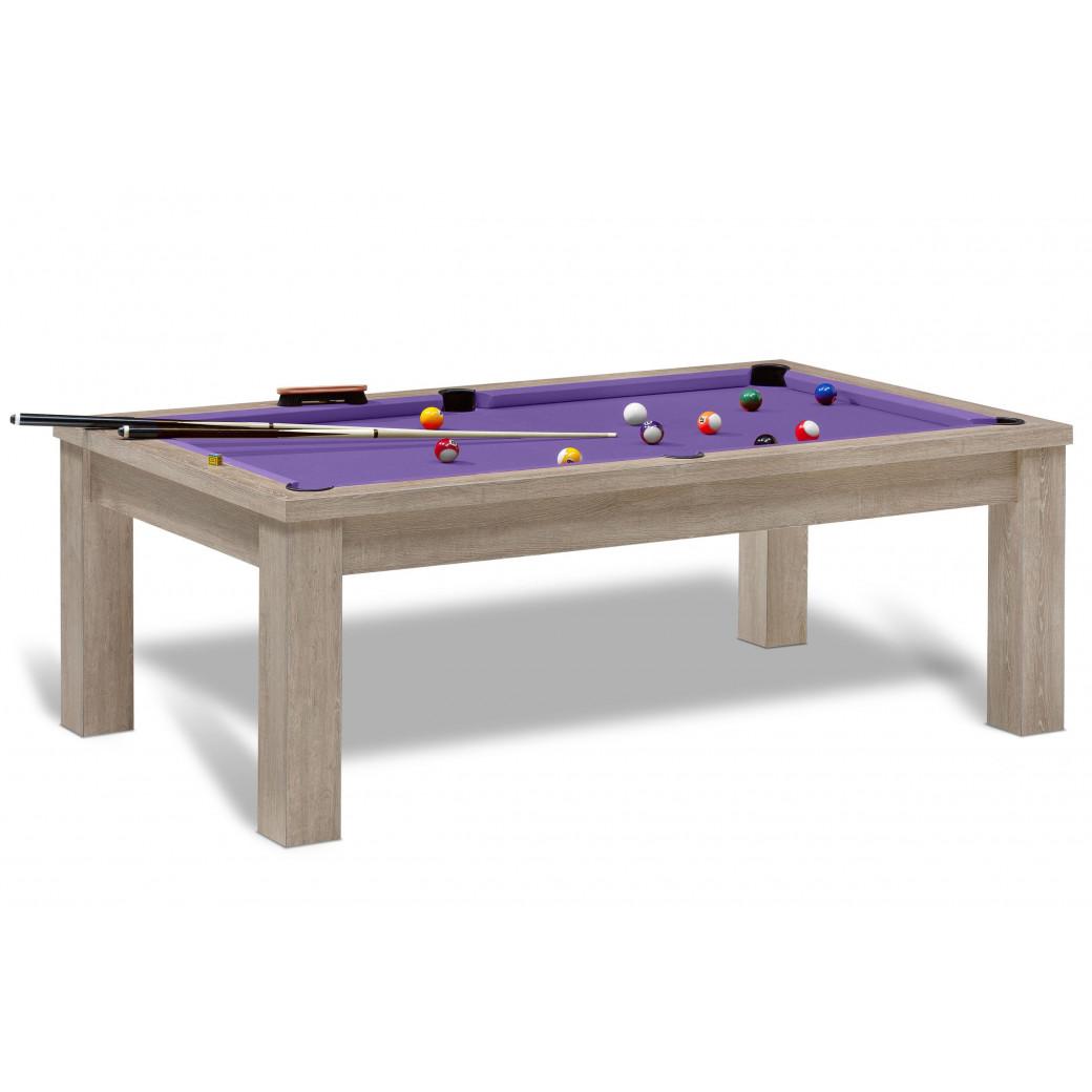 Billard americain pas cher de couleur violet, en option ce billard US est convertible en table.