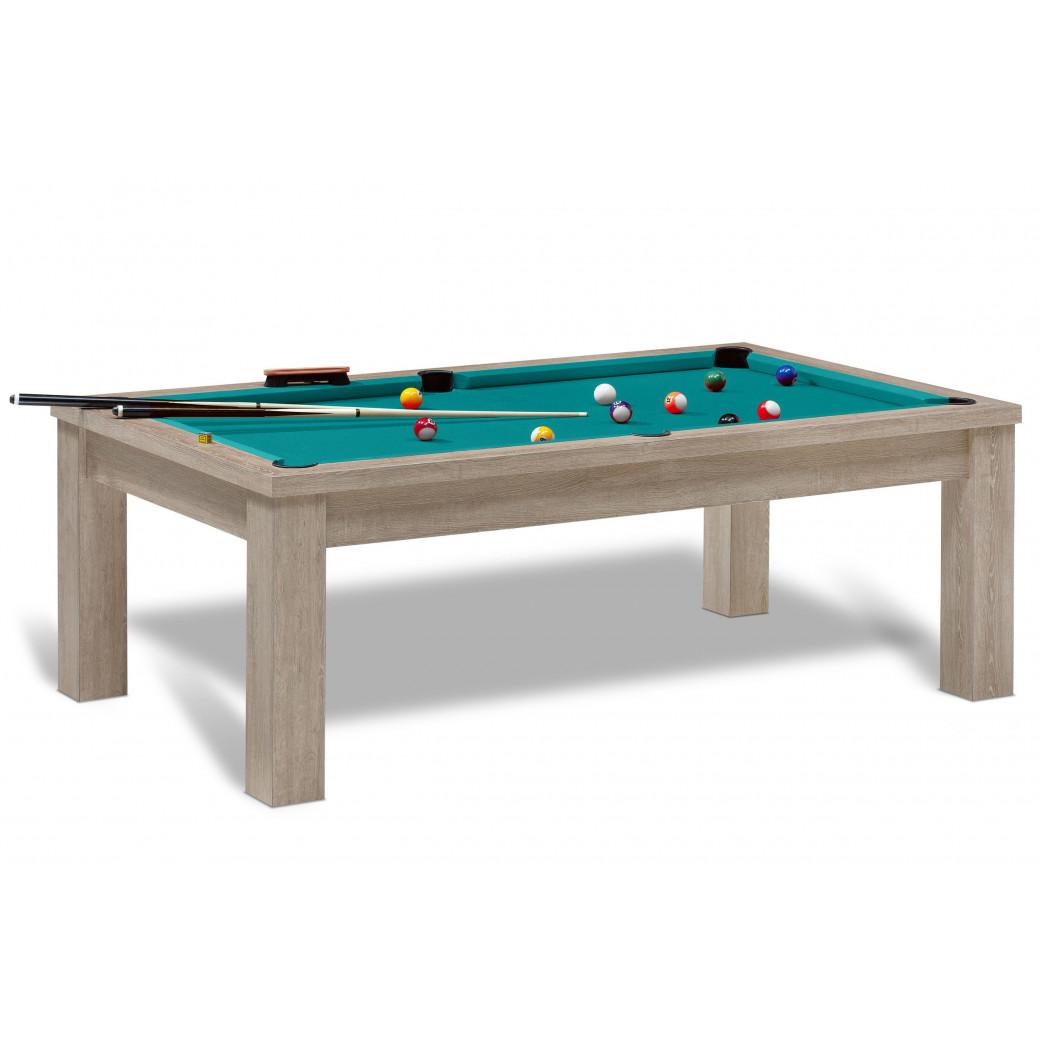 Table billard convertible pour jeux de billard americain avec tapis vert bleu.