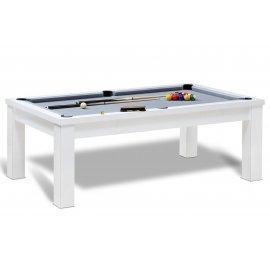 billard americain pas cher de couleur blanc convertible en table avec dessus de verre