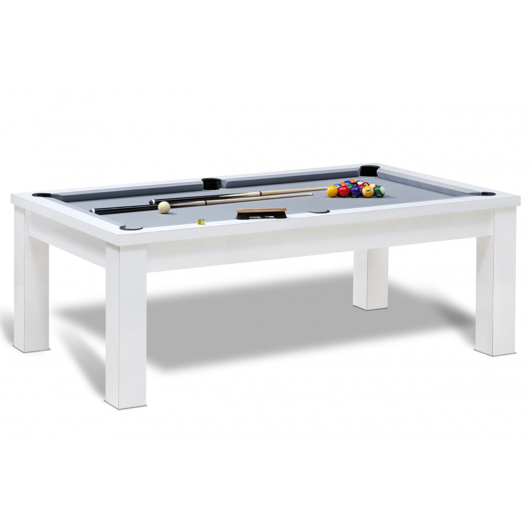 Table billard americain blanc pour jeux de billard us convertible en table avec tapis gris