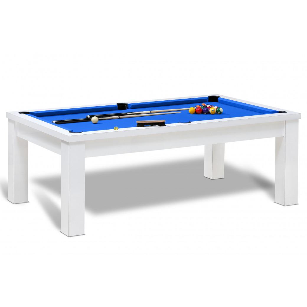 Billard table pour jeux américain avec tapis bleu et pack d'accessoires dont queue de billard americain.