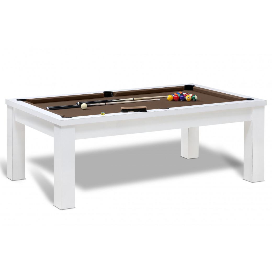 Table billard de couleur blanc pour jeu de billard americain avec tapis de qualité couleur chocolat.