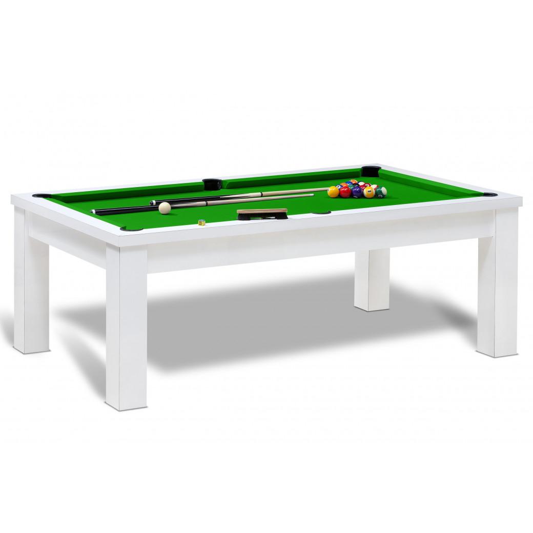 Vente billard pour jeu americain de couleur blanc avec tapis vert pomme et accessoires inclus.