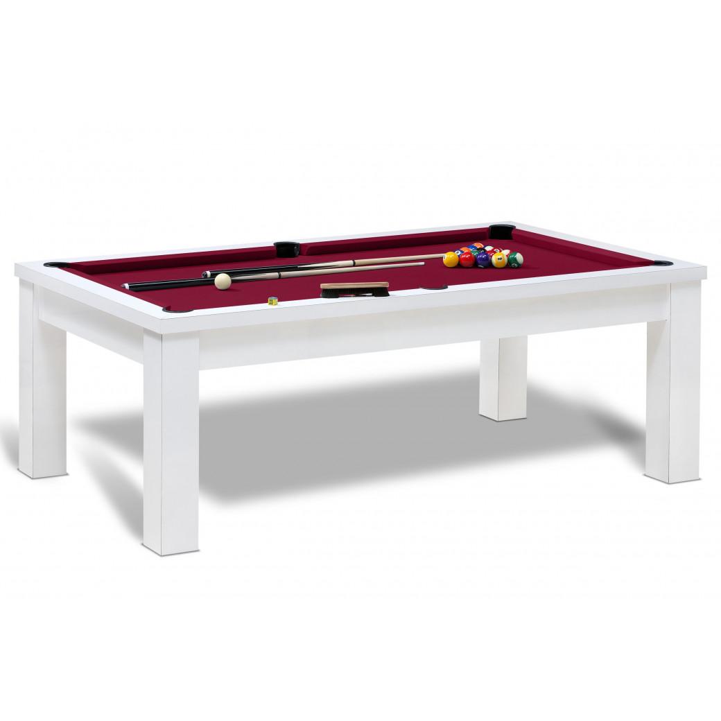 Jouer billard americain sur cette table de billard us blanc et bordeaux.