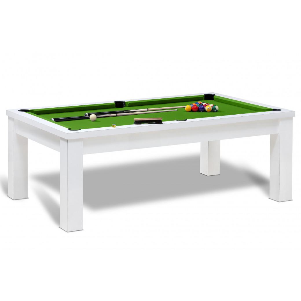 Table billard convertible pour jeu de billard americain avec accessoires, livraison offerte et tapis vert pool.