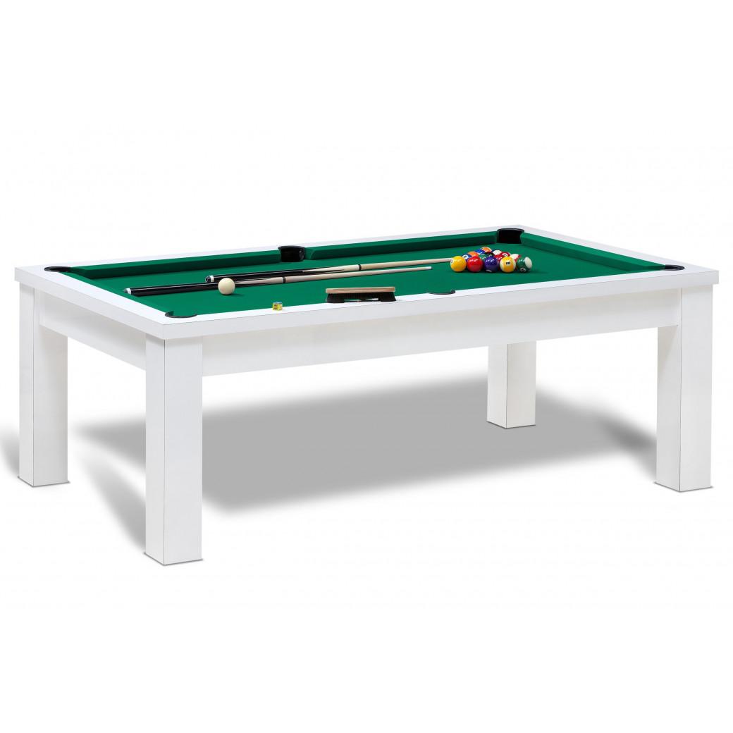 Table de billard transformable pour billard americain blanc et vert jaune avec dessus de table en option.