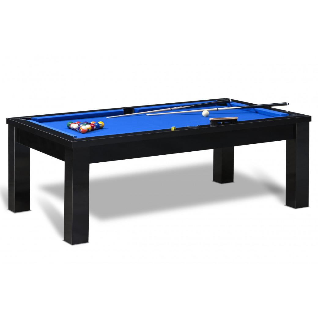 Billard americain table noire avec tapis bleu  et accessoires billard americain pas cher
