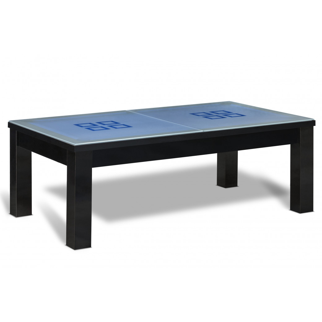 Billard americain transformable en table avec son dessus de table en verre.