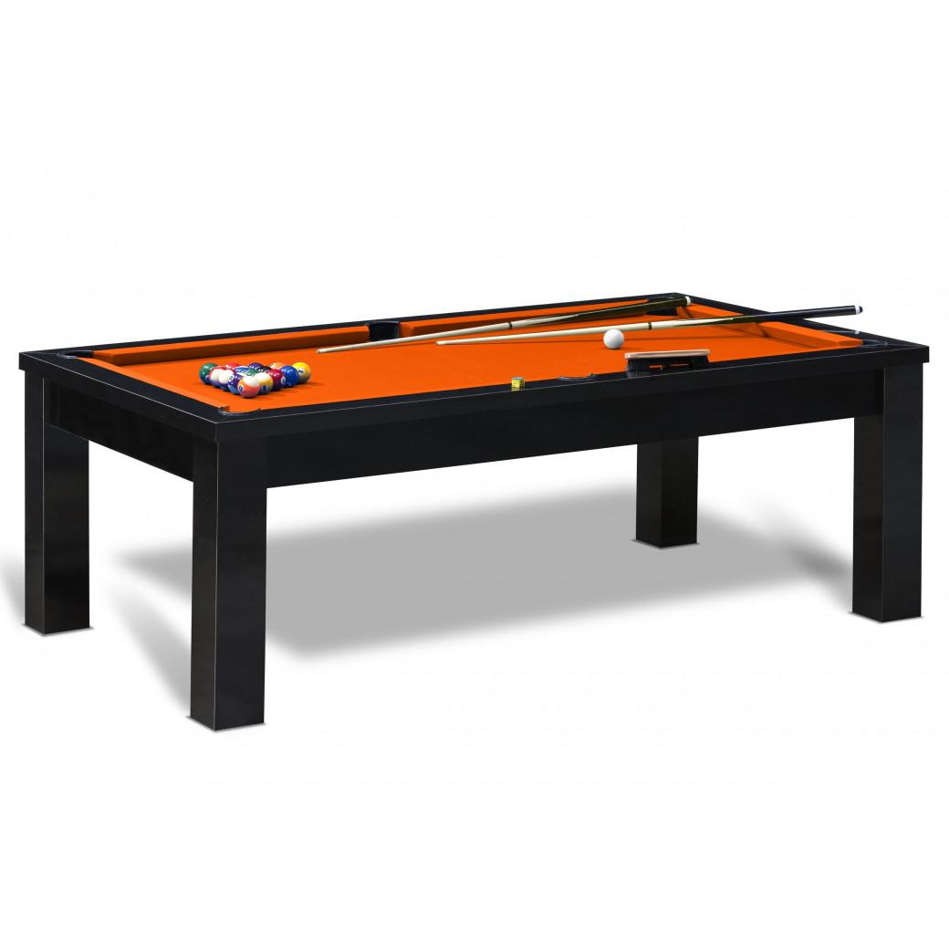 Jouer au billard américain avec cette sublime table de billard americain et son tapis orange