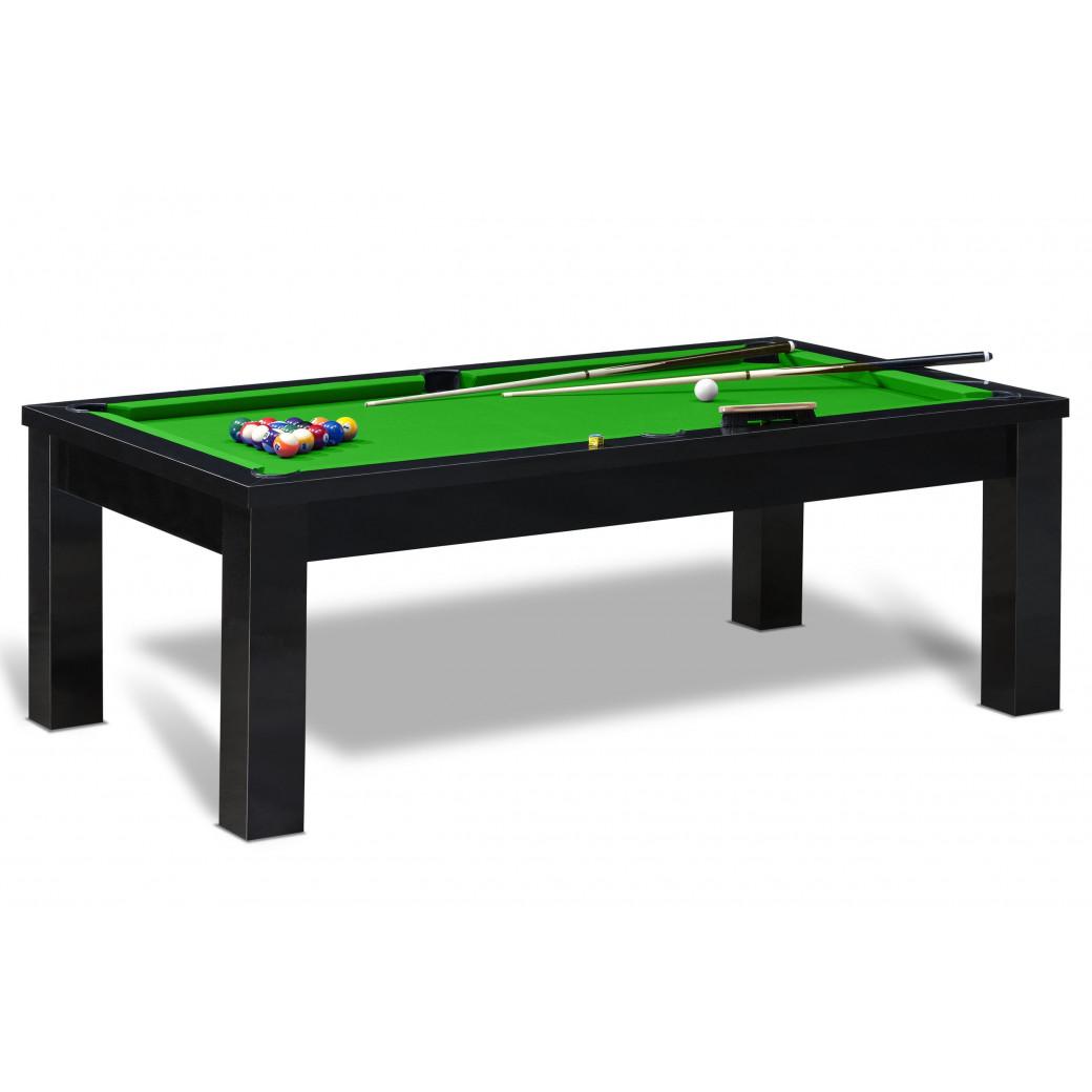 Jeu de billard américain avec table noire et tapis vert pomme. En option ce billard table est convertible.