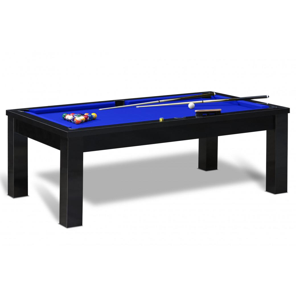 Achat billard américain avec tapis bleu pool et table noire. Billard table convertible avec dessus en bois ou en verre.
