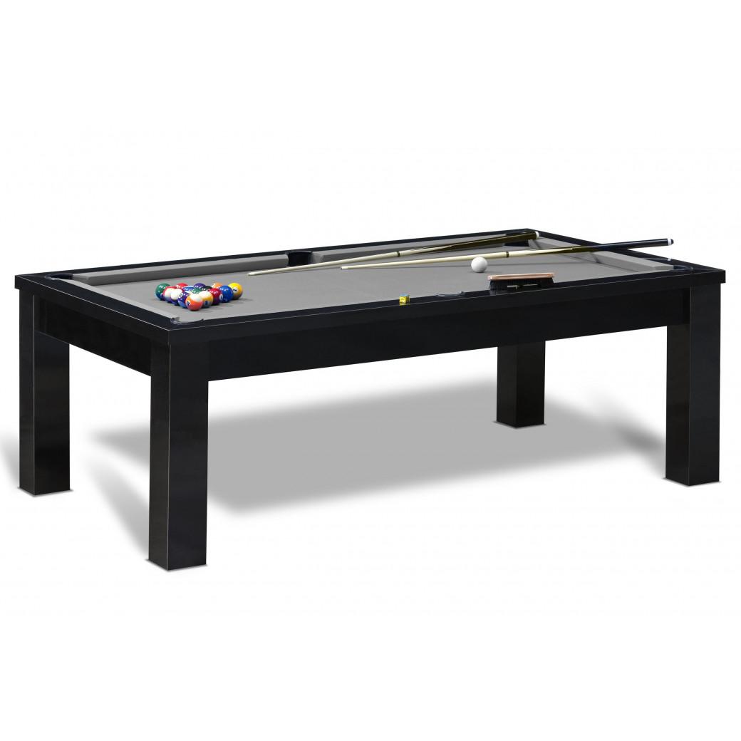 Billard américain table avec tapis gris et table noire livré gratuitement avec accessoires billard US inclus.
