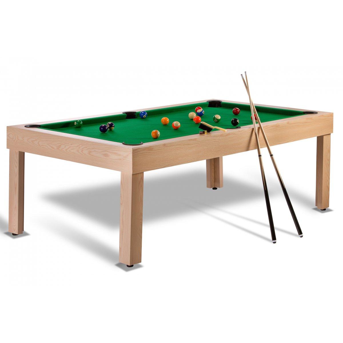 Billard am ricain avec plateau table et accessoires inclus for Table salon convertible