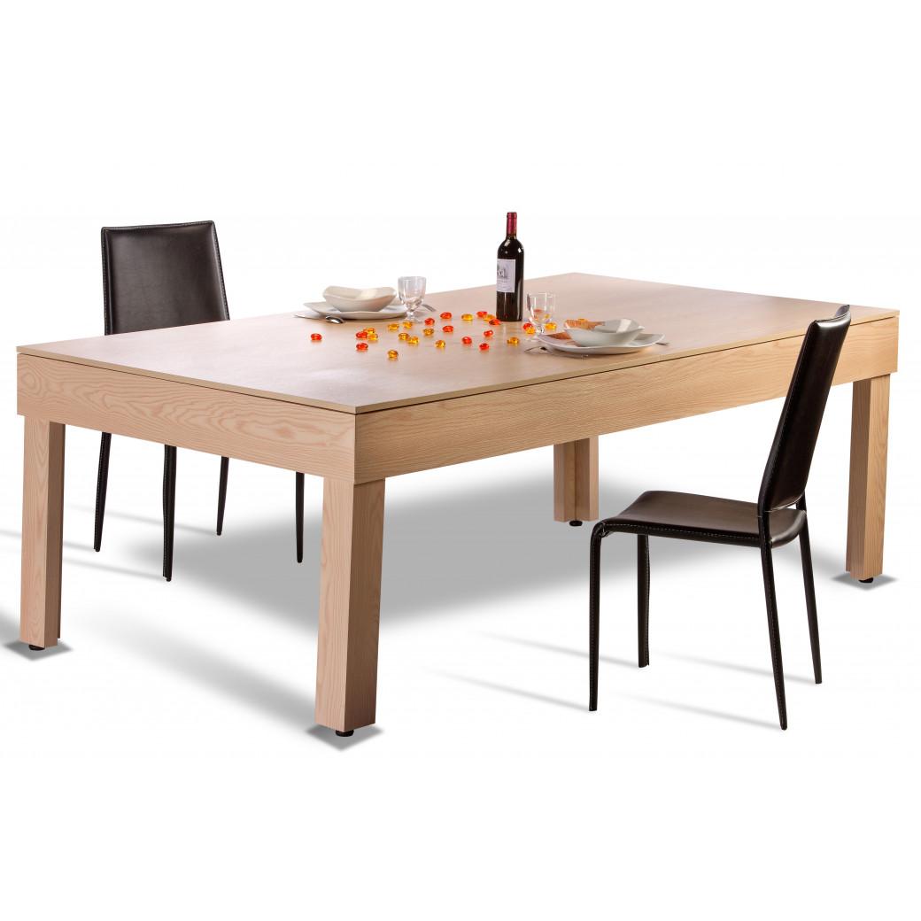 Billard americain convertible pas cher pour le transformer en table à manger avec son plateau table en 2 parties.
