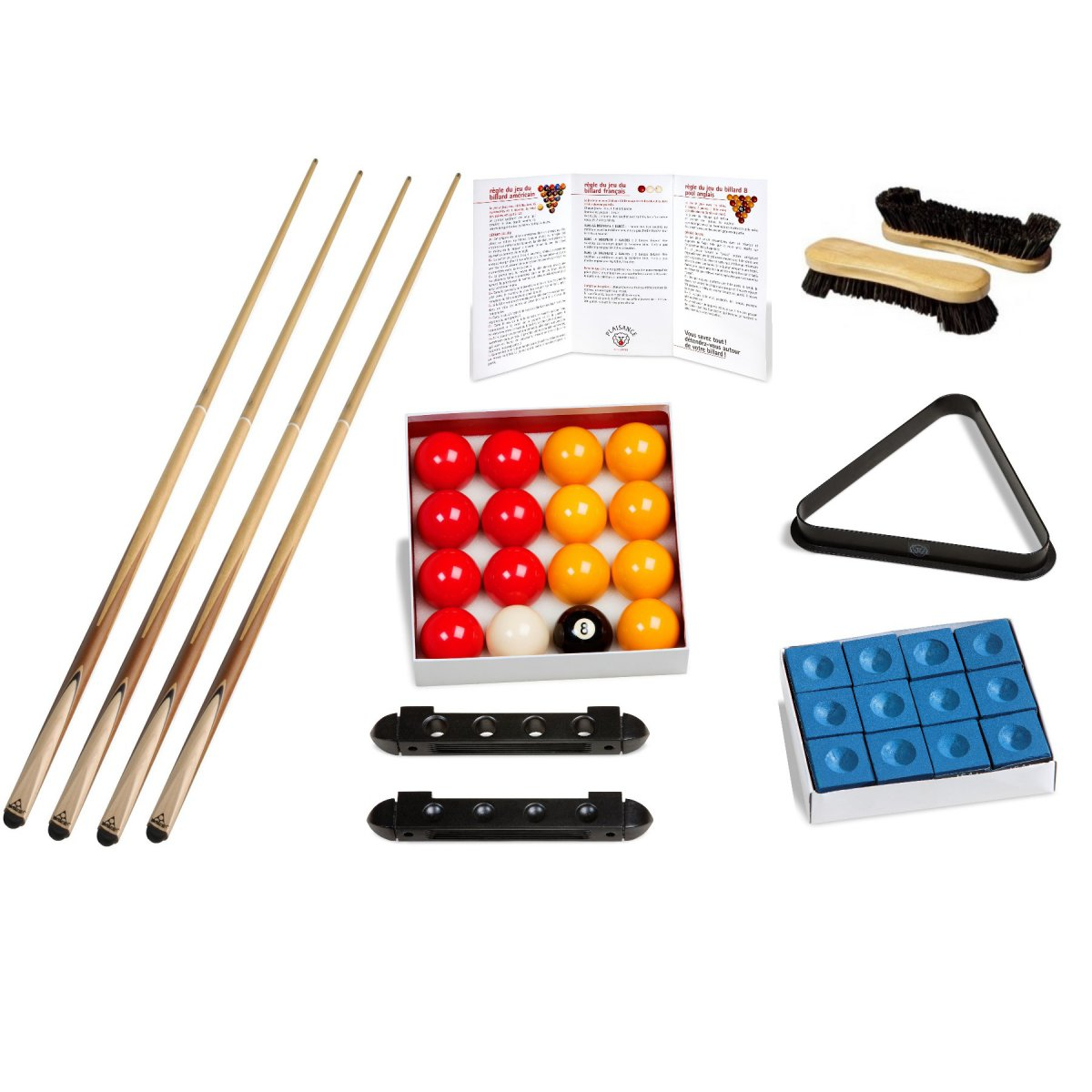 kit accessoires billard queues billes triangle craies brosse porte queue. Black Bedroom Furniture Sets. Home Design Ideas