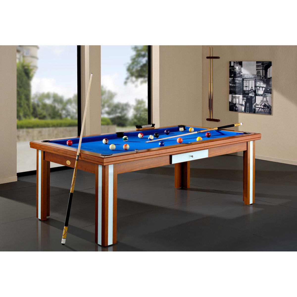 Table billard convertible milan verre for Table billard convertible belgique