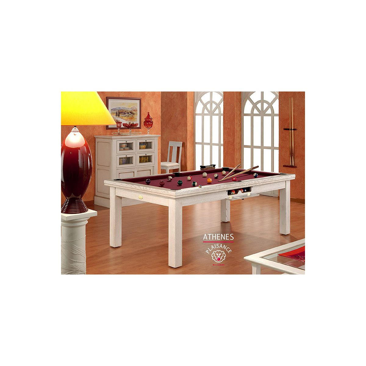 table billard convertible en finition blanc cir