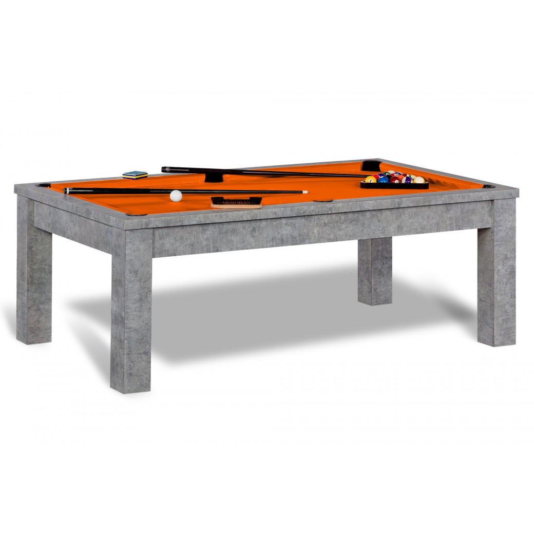 Billard convertible, et tapis de qualité Simonis couleur orange