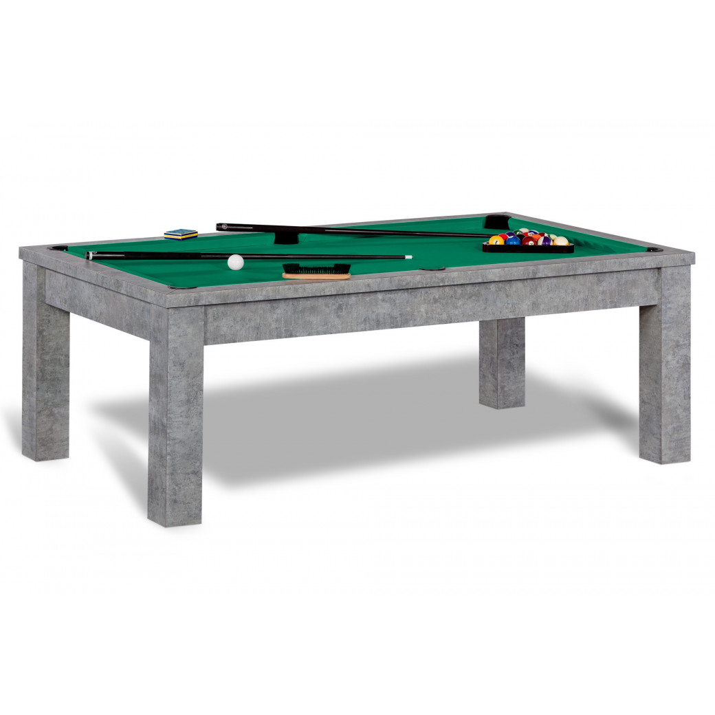Billard 8 pool, tapis vert jaune et table convertible