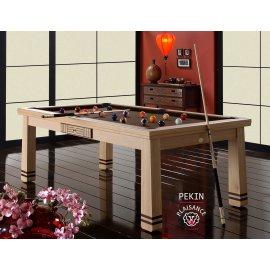 Table billard convertible, tapis couleur chocolat