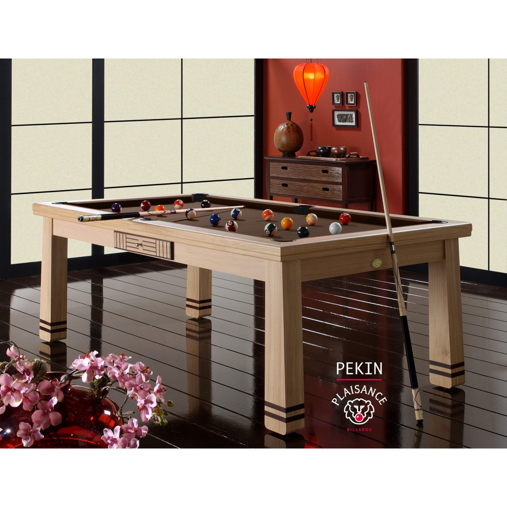 Table billard convertible, tapis couleur chocolat