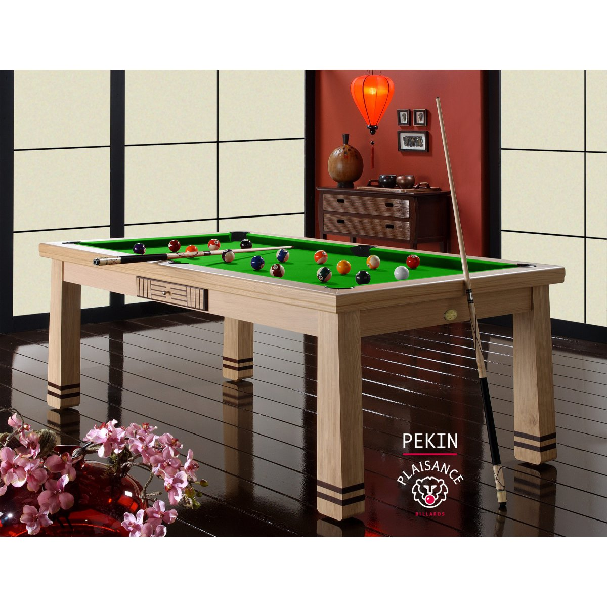 Billard table manger pekin en ch ne naturel for Table de salle a manger billard