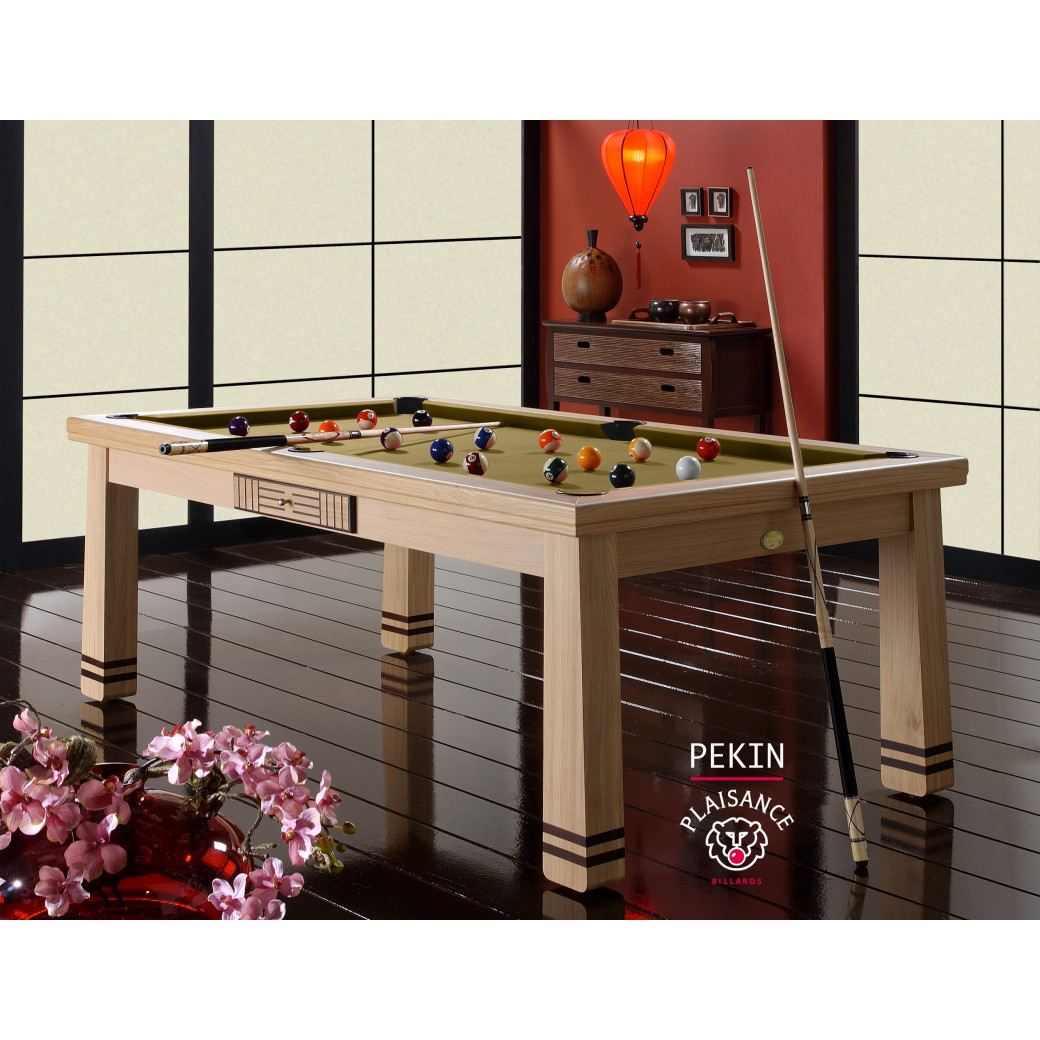 Table billard convertible, avec le tapis gold couleur or