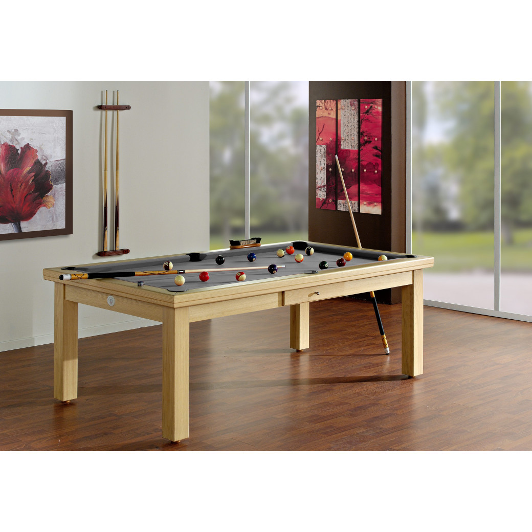 Table billard, convertible en table avec tapis gris
