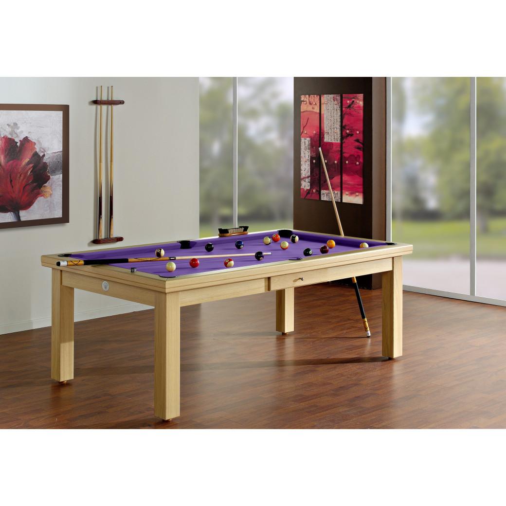 Billard, avec dessus de table et tapis violet