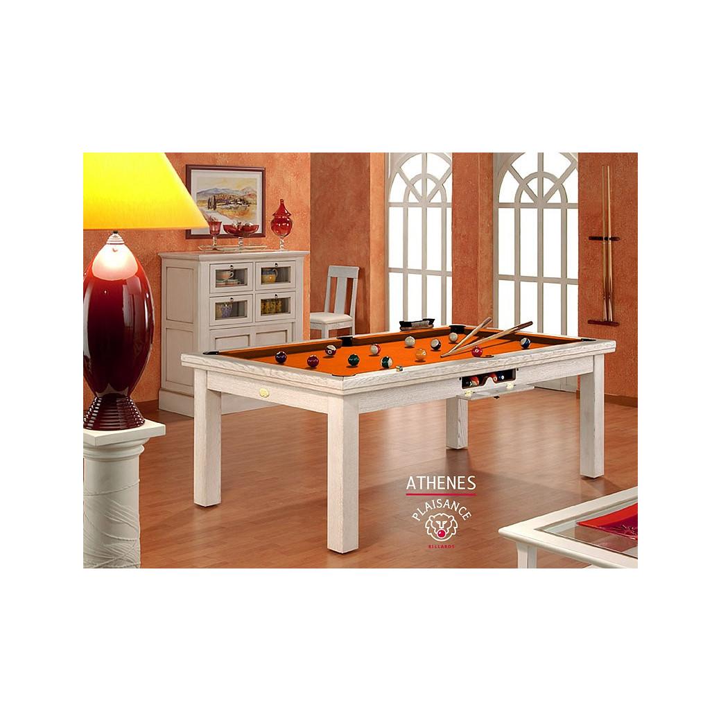 Table billard convertible, avec tapis orange