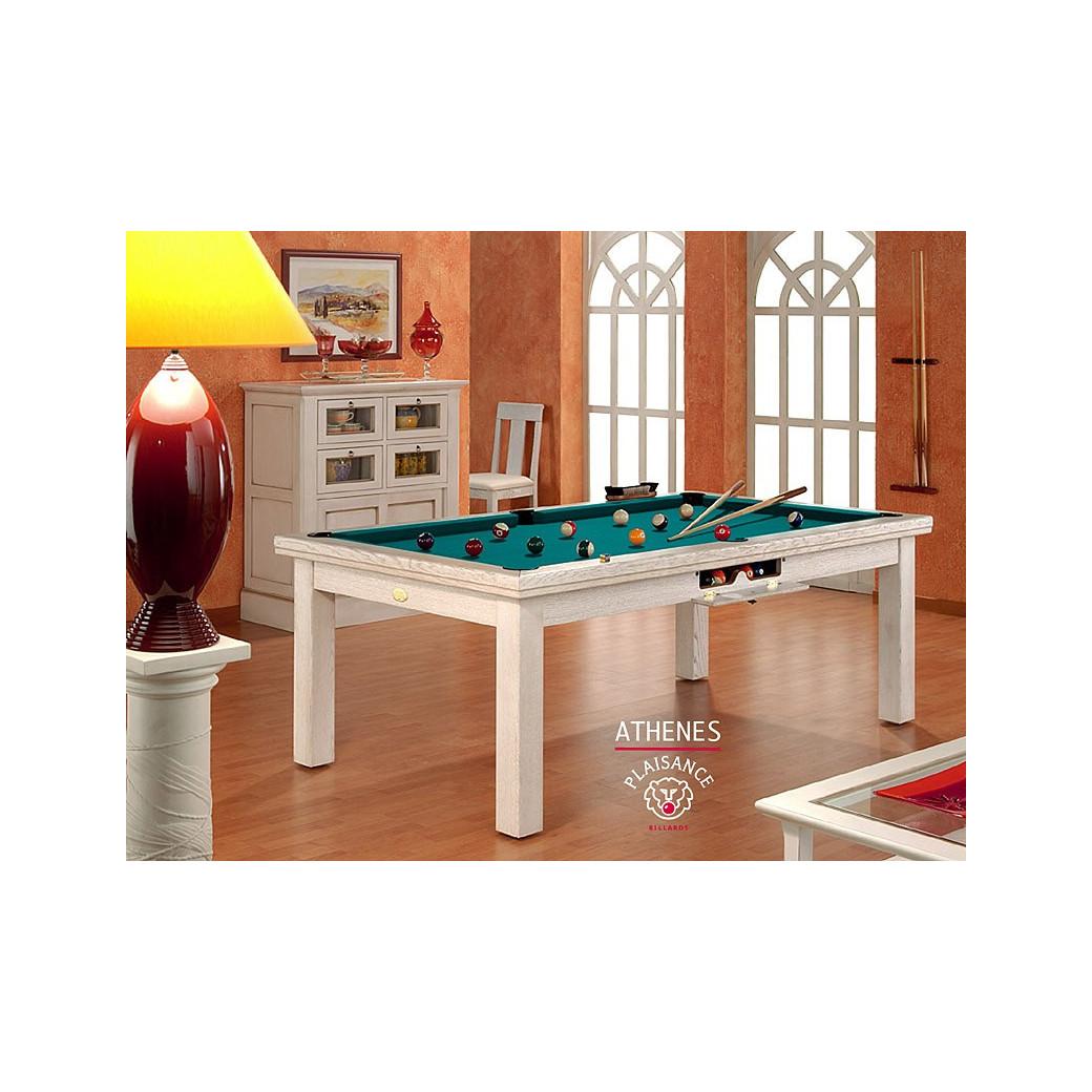 Billard: cadre bois blanc ciré et tapis Simonis vert bleu