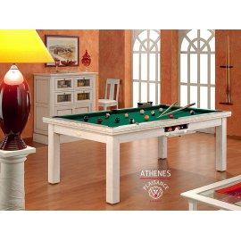 Billard americain table, en bois blanc et avec tapis de luxe vert jaune