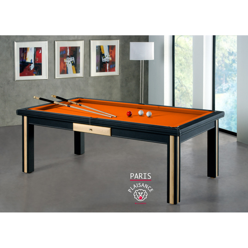 Billard paris, tapis orange et billard cuir