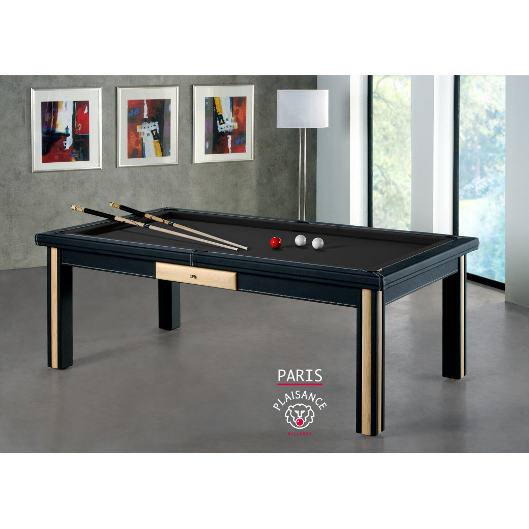 Billard a paris, tapis noir pour table billard convertible