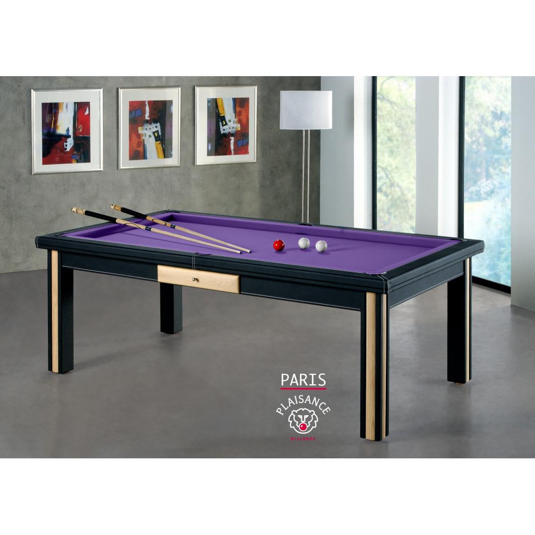 Billards paris, table en bois et cuir avec tapis de billard violet