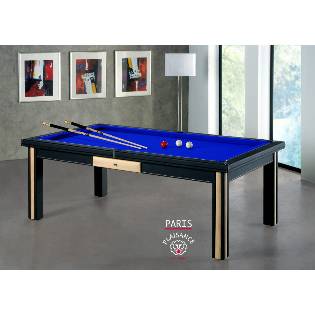 Billard transformable en table à manger, tapis bleu pool