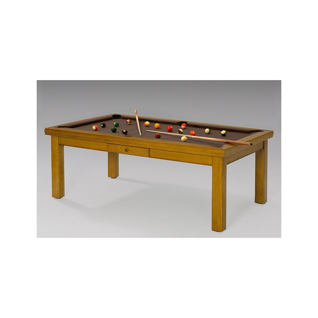 Billard convertible, tapis Simonis chocolat (marron)