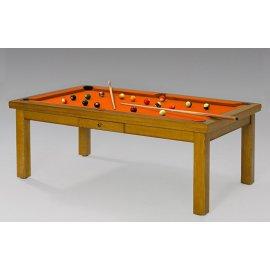 Table de billard convertible, tapis design orange