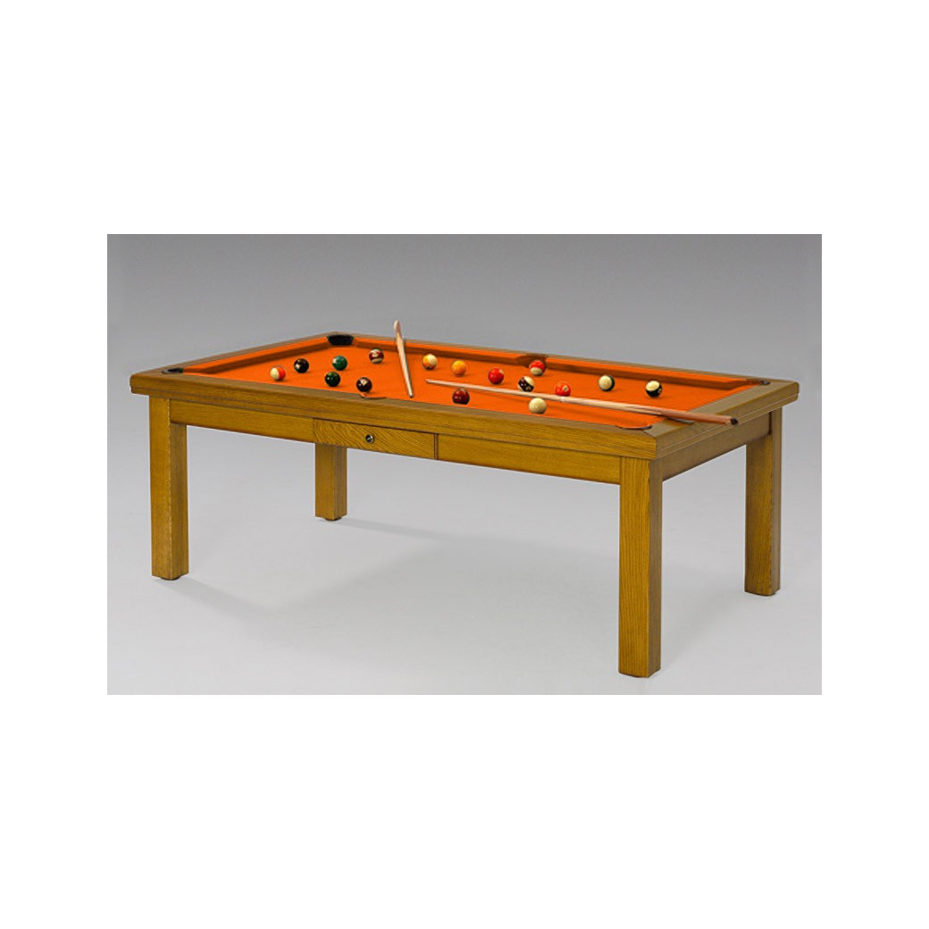 Table de billard convertible, tapis design orange
